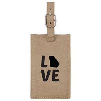 Georgia-State Outline-Love-Leatherette Luggage Tag -Tan