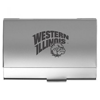Western Illinois University - Two-Tone Business Card Holder - Silver