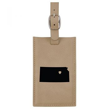 Kansas-State Outline-Heart-Leatherette Luggage Tag -Tan