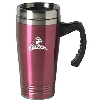 Wright State University-16 oz. Stainless Steel Mug-Pink