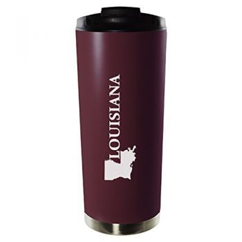 16 oz Vacuum Insulated Tumbler with Lid - Louisiana State Outline - Louisiana State Outline