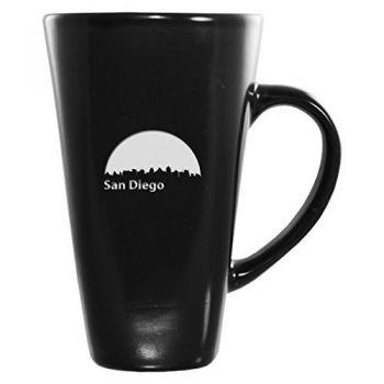 16 oz Square Ceramic Coffee Mug - San Diego City Skyline