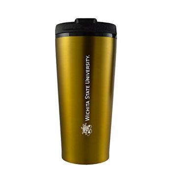 Wichita State University -16 oz. Travel Mug Tumbler-Gold