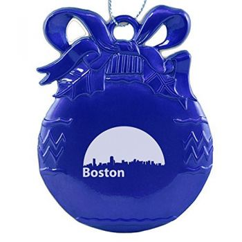 Boston, Massachusetts-Christmas Tree Ornament-Blue