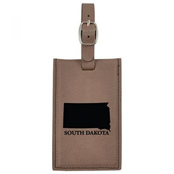 South Dakota-State Outline-Leatherette Luggage Tag -Brown