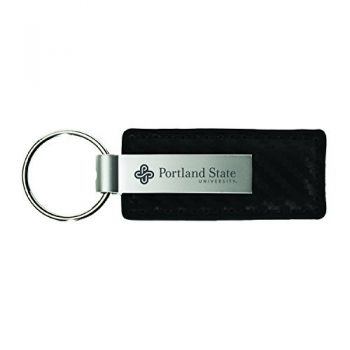 Portland State University-Carbon Fiber Leather and Metal Key Tag-Black