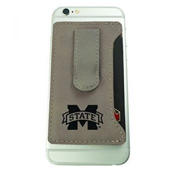 Mississippi State University -Leatherette Cell Phone Card Holder-Tan