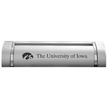 University of Iowa-Desk Business Card Holder -Silver