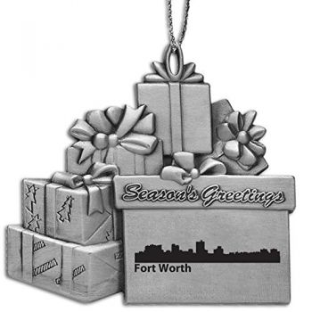 Pewter Gift Display Christmas Tree Ornament - Fort Worth City Skyline