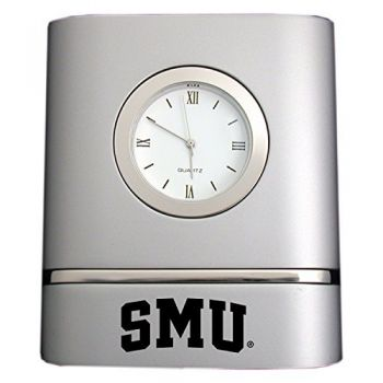 Southern Methodist University- Two-Toned Desk Clock -Silver