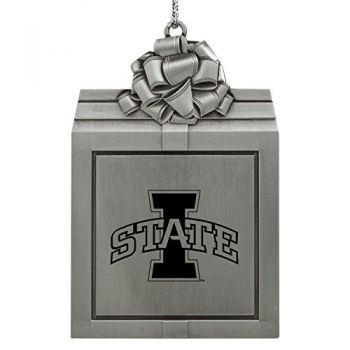 Iowa State University -Pewter Christmas Holiday Present Ornament-Silver