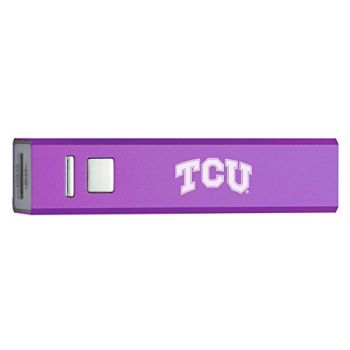 Texas Christian University - Portable Cell Phone 2600 mAh Power Bank Charger - Purple