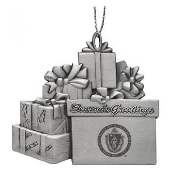 University of Massachusetts - Amherst - Pewter Gift Package Ornament