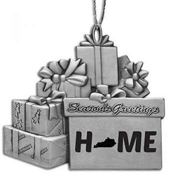 Kentucky-State Outline-Home-Pewter Gift Package Ornament-Silver
