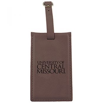 University of Central Missouri -Leatherette Luggage Tag-Brown