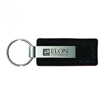 Elon University-Carbon Fiber Leather and Metal Key Tag-Black