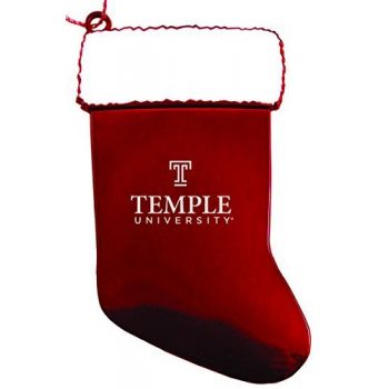 Temple University - Christmas Holiday Stocking Ornament - Red