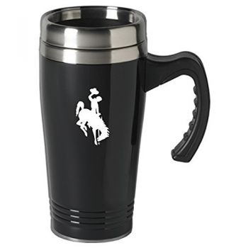 University of Wyoming-16 oz. Stainless Steel Mug-Black