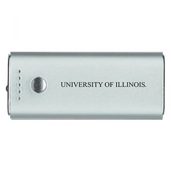 University of Illinois -Portable Cell Phone 5200 mAh Power Bank Charger -Silver