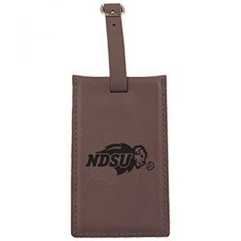 North Dakota State University -Leatherette Luggage Tag-Brown