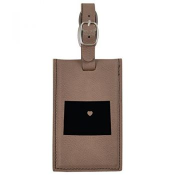 Colorado-State Outline-Heart-Leatherette Luggage Tag -Brown
