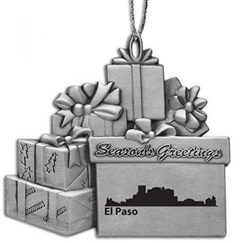 El Paso, Texas-Pewter Gift Package Ornament-Silver