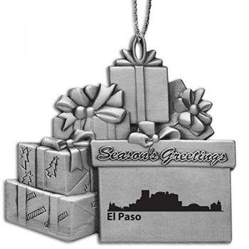 Pewter Gift Display Christmas Tree Ornament - El Paso City Skyline