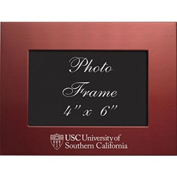 University of Southern California - 4x6 Brushed Metal Picture Frame - Red