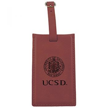 University of California, San Diego-Leatherette Luggage Tag-Burgundy