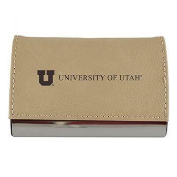 Velour Business Cardholder-University of Utah-Tan