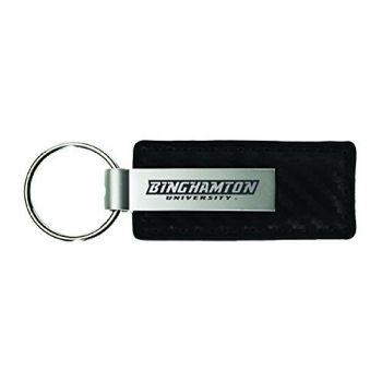 Binghamton University-Carbon Fiber Leather and Metal Key Tag-Black