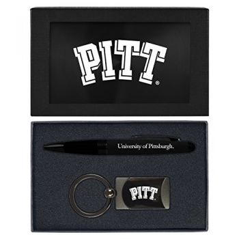 University of Pittsburgh -Executive Twist Action Ballpoint Pen Stylus and Gunmetal Key Tag Gift Set-Black