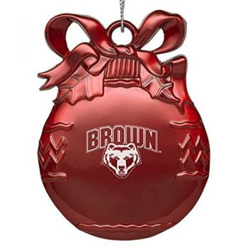 Brown University - Pewter Christmas Tree Ornament - Red