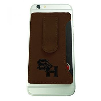 Sam Houston State University -Leatherette Cell Phone Card Holder-Brown