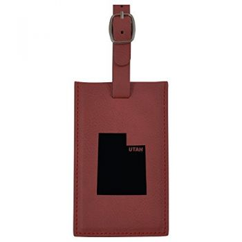 Utah-State Outline-Leatherette Luggage Tag -Burgundy