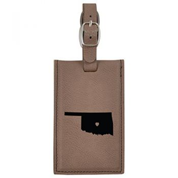 Oklahoma-State Outline-Heart-Leatherette Luggage Tag -Brown