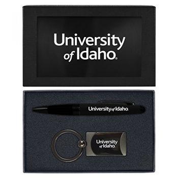 University of Idaho -Executive Twist Action Ballpoint Pen Stylus and Gunmetal Key Tag Gift Set-Black