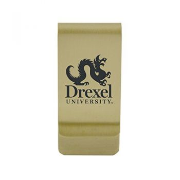 Drake University|Money Clip with Contemporary Metals Finish|Solid Brass|High Tension Clip to Securely Hold Cash, Cards and ID's|Silver