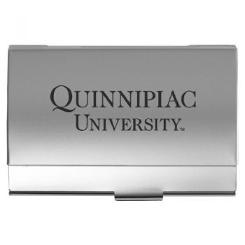 Quinnipiac University - Two-Tone Business Card Holder - Silver