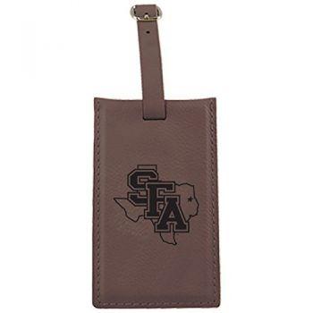 Stephen F. Austin State University-Leatherette Luggage Tag-Brown