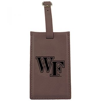 Wake Forest University -Leatherette Luggage Tag-Brown