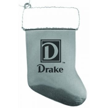 Drake University - Christmas Holiday Stocking Ornament - Silver
