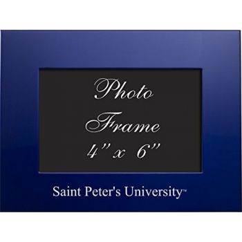 Saint Peter's University - 4x6 Brushed Metal Picture Frame - Blue