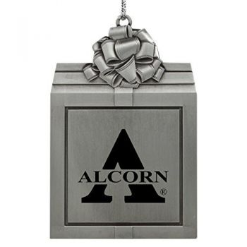 Alcorn State University -Pewter Christmas Holiday Present Ornament-Silver