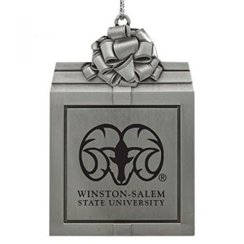 Winston-Salem State University -Pewter Christmas Holiday Present Ornament-Silver