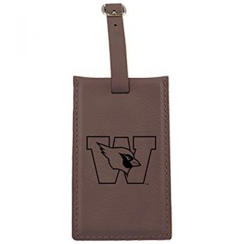 Wesleyan University -Leatherette Luggage Tag-Brown