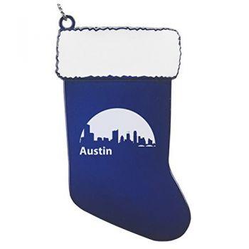Pewter Stocking Christmas Ornament - Austin City Skyline