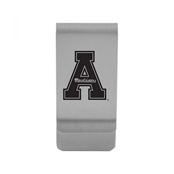 American University|Money Clip with Contemporary Metals Finish|Solid Brass|High Tension Clip to Securely Hold Cash, Cards and ID's|Silver