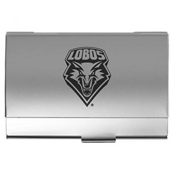 University of New Mexico - Two-Tone Business Card Holder - Silver