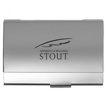 University of Wisconsin–Stout - Two-Tone Business Card Holder - Silver